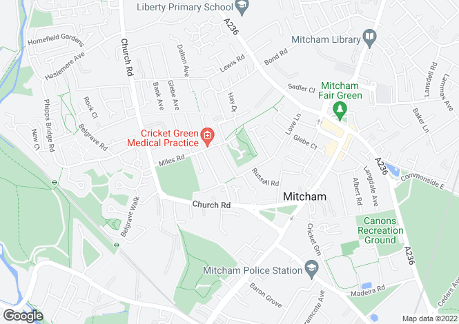 Map for Edmund Road, Mitcham