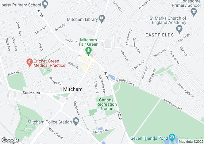 Map for Upper Green East, Mitcham, CR4