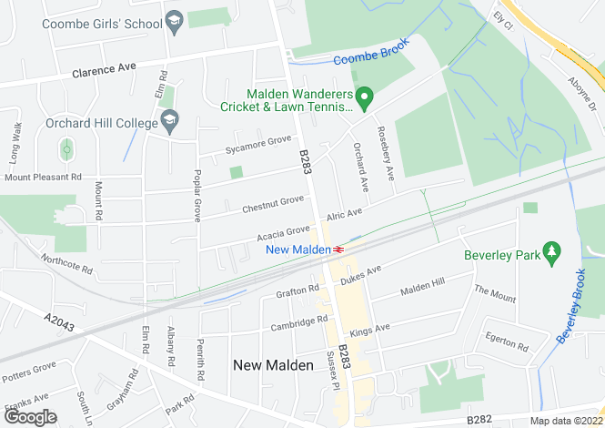 Map for Oriel House, Coombe Road, New Malden