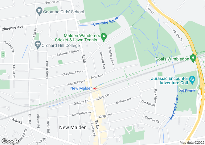 Map for Alric Avenue, New Malden, KT3