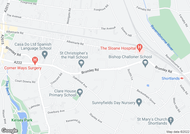 Map for Holmoaks House, 47 Bromley Road, Beckenham, Kent