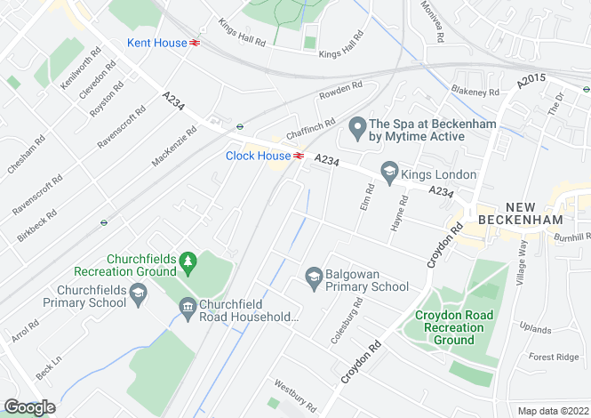 Map for Clock House Road, Beckenham, BR3