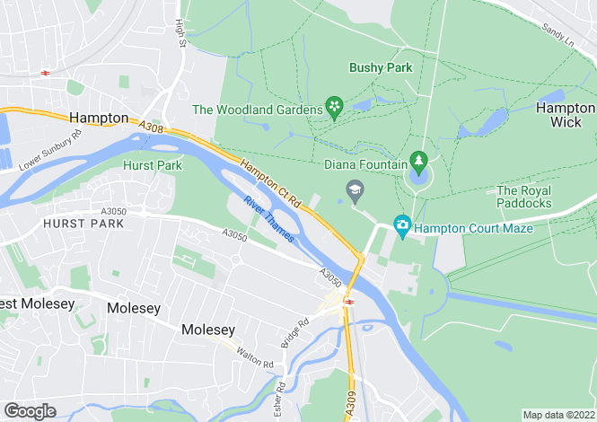 Map for Hampton Court Road, East Molesey, Surrey, KT8