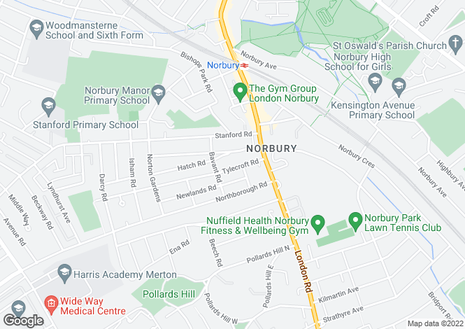 Map for Tylecroft Road, Norbury, SW16