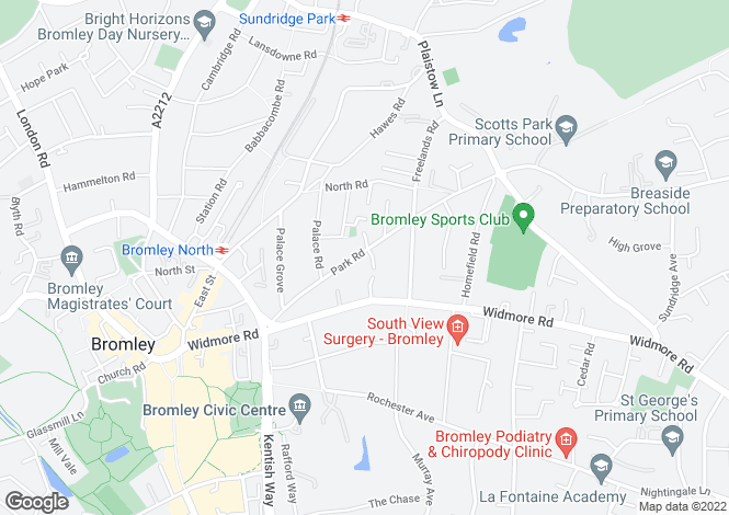 Map for Park Road, Bromley, BR1