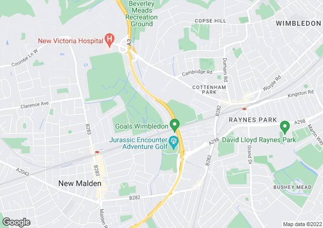 Map for Aboyne Drive, Raynes Park