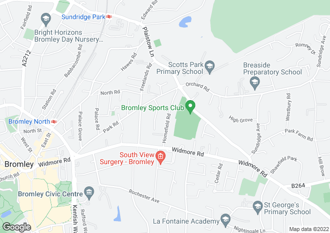 Map for Homefield Road, Bromley, Kent