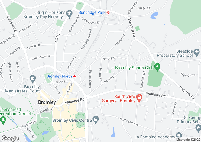 Map for Palace Road, Bromley, Kent, BR1 3JX