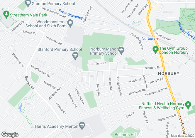 Map for Stanford Road, NORBURY