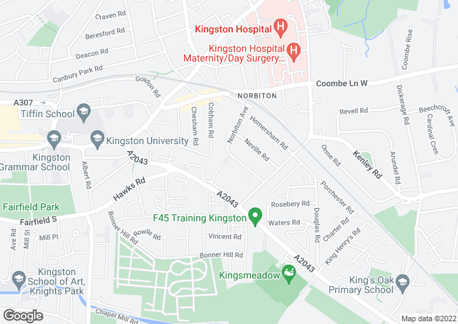 Map for Norbiton Avenue, Kingston upon Thames, Surrey