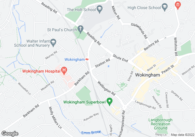 Map for Salisbury Lodge, 20 Station Road, Wokingham
