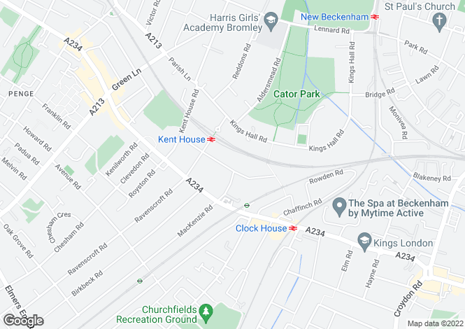 Map for Barnmead Road, Beckenham, BR3