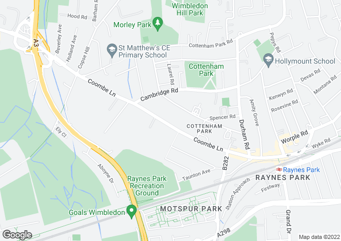Map for Coombe Lane, West Wimbledon, SW20