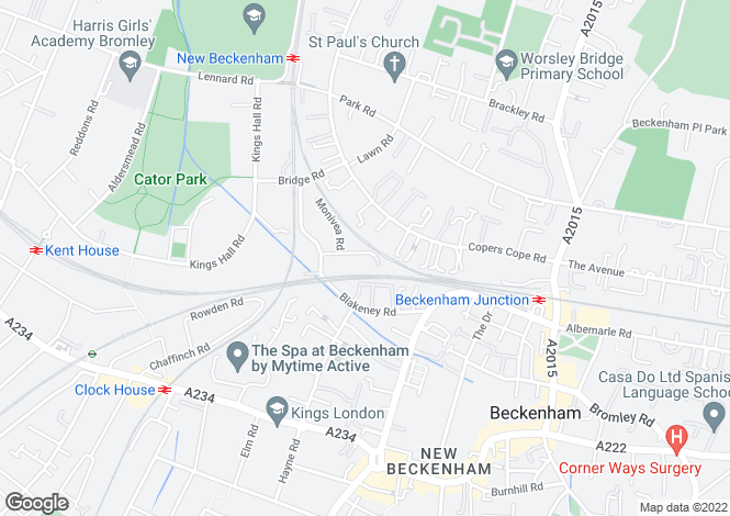Map for Blakeney Avenue, Beckenham, BR3