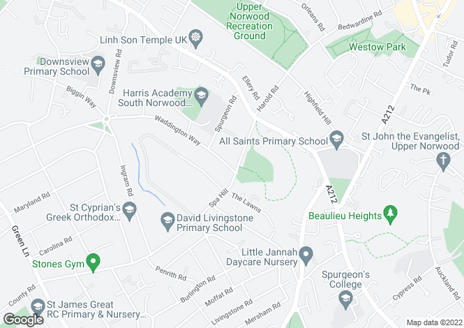 Map for Spa Hill, Upper Norwood, SE19
