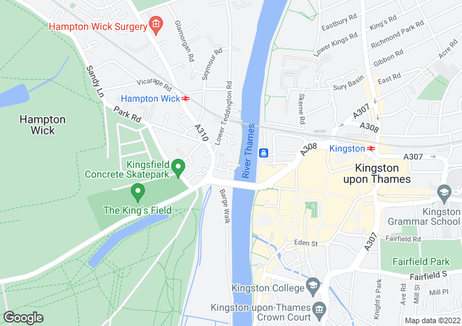 Map for Marina Place, Hampton Wick, Kingston Upon Thames