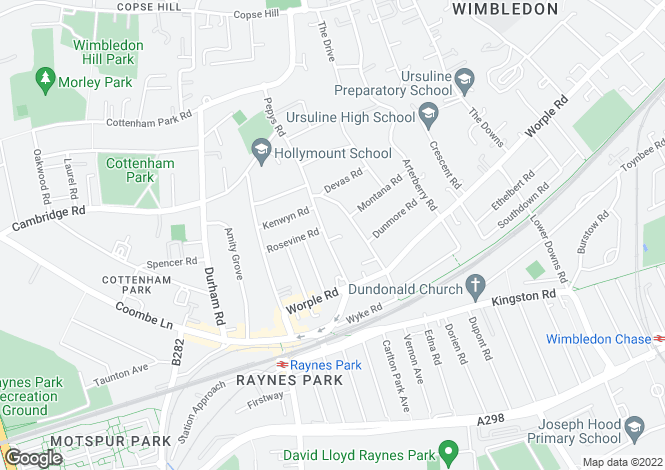 Map for Pepys Road, West Wimbledon