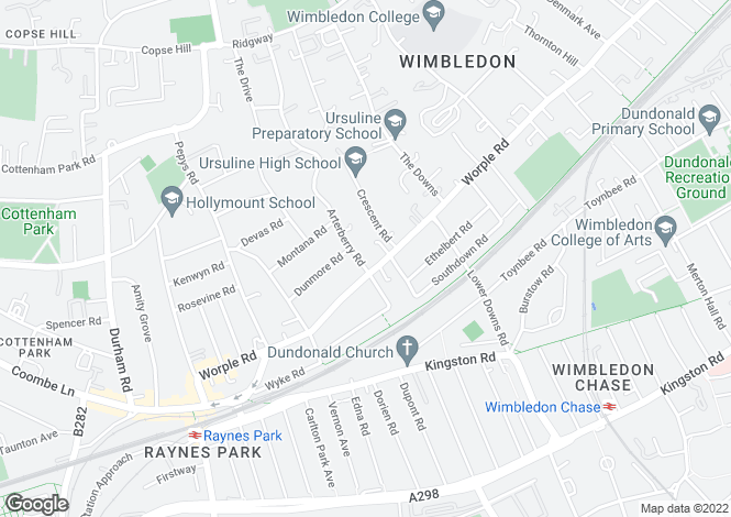 Map for Arterberry Road, Wimbledon