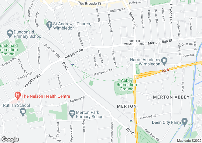 Map for Melbourne Road Wimbledon SW19