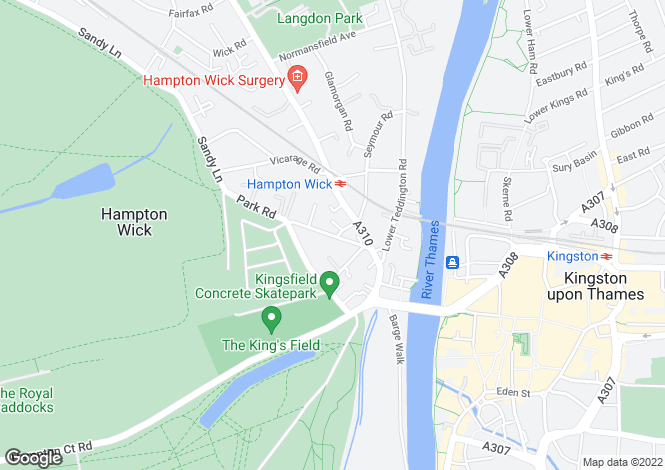 Map for Park Road, Hampton Wick, Kingston Upon Thames KT1