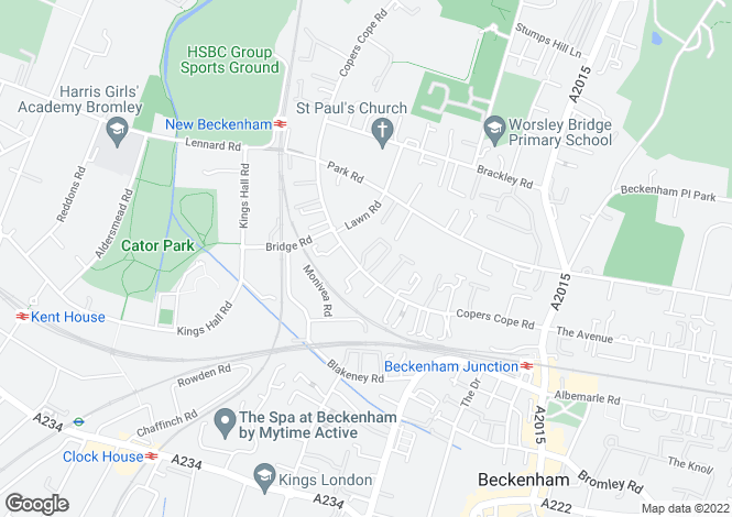 Map for Copers Cope Road, Beckenham, BR3