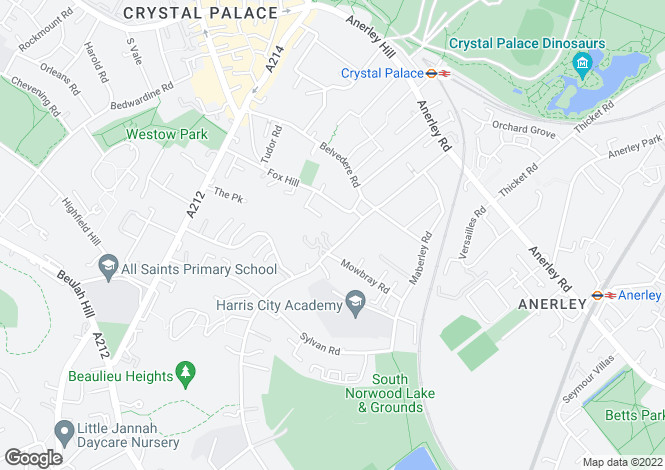 Map for Auckland Road, Crystal Palace, SE19