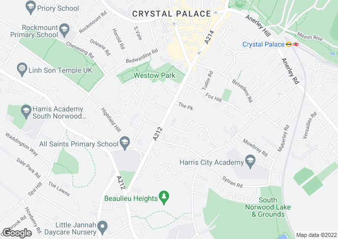 Map for 205 Church Road Crystal Palace SE19