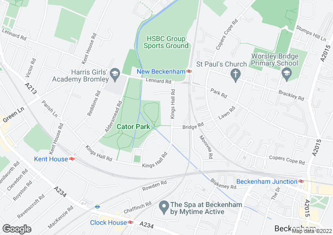 Map for Kings Hall Road, Beckenham, BR3