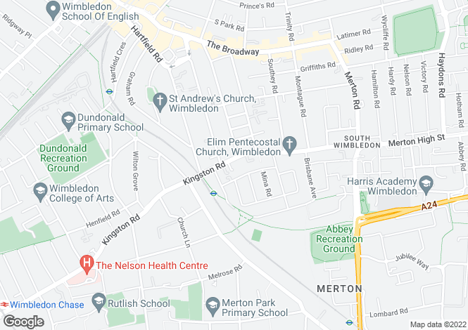 Map for Kingston Road, South Wimbledon