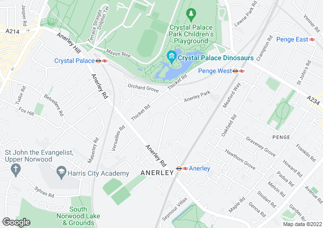 Map for Anerley Park Anerley SE20