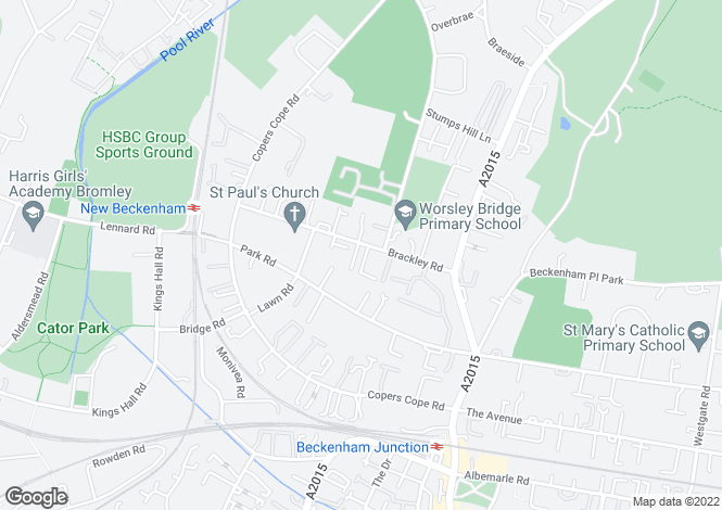 Map for Brackley Road, Beckenham