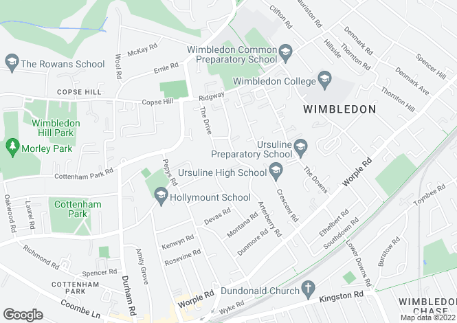 Map for Arterberry Road, Wimbledon, SW20