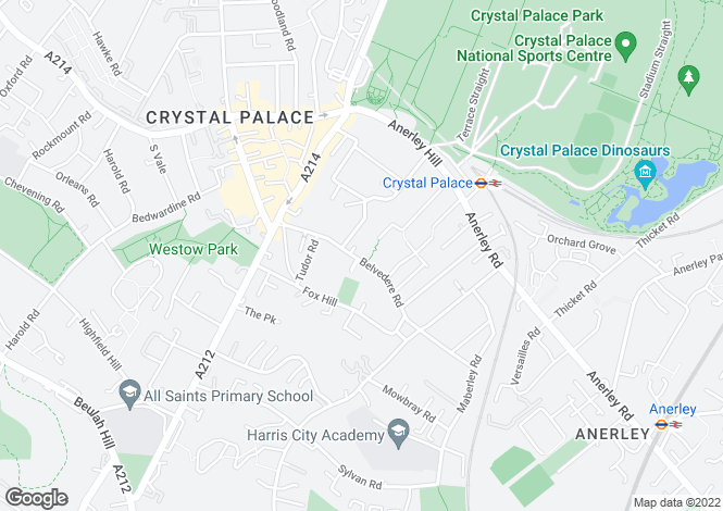Map for Belvedere Road, Crystal Palace, SE19