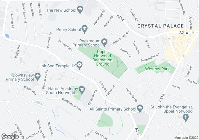Map for Eversley Road, Crystal Palace, SE19