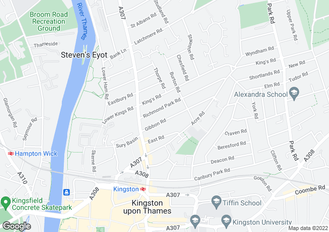 Map for Gibbon Road, Kingston Upon Thames KT2