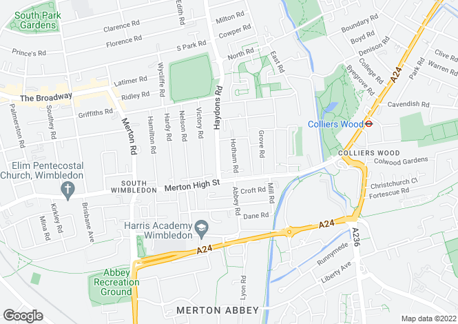 Map for Hotham Road, South Wimbledon, London, SW19 1BS