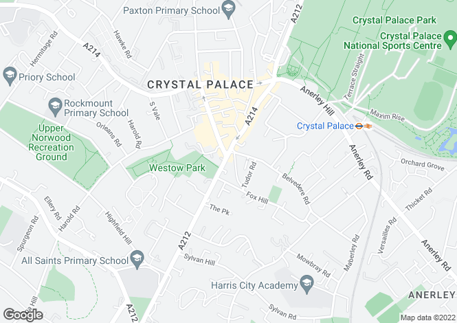 Map for Church Road, Crystal Palace, London