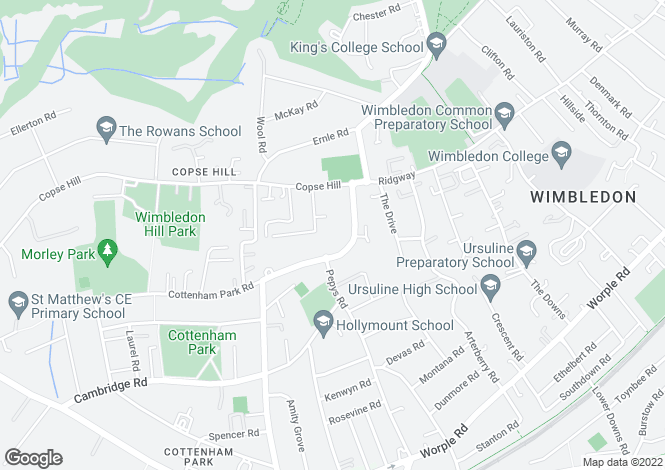 Map for Cottenham Park Road, West Wimbledon