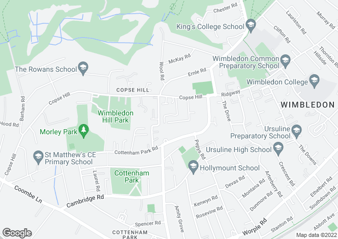 Map for High Cedar Drive, Wimbledon, SW20