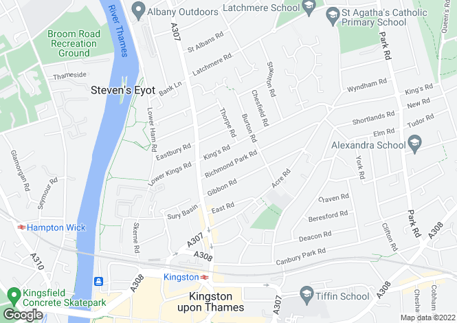 Map for Richmond Park Road Kingston Surrey
