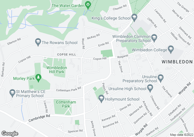Map for Copse Hill, Wimbledon Common, Wimbledon