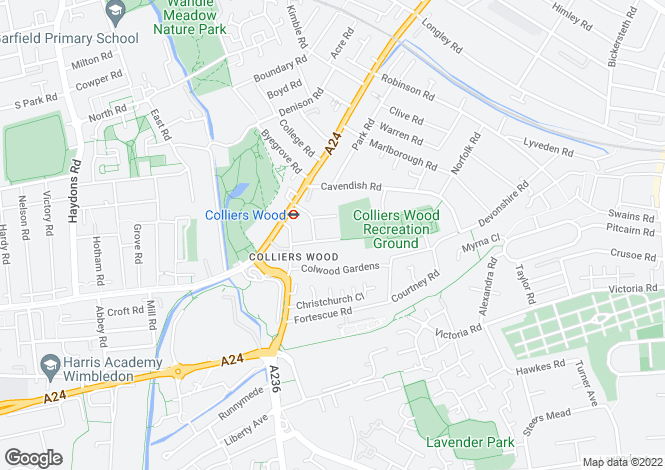 Map for South Gardens, Colliers Wood, London