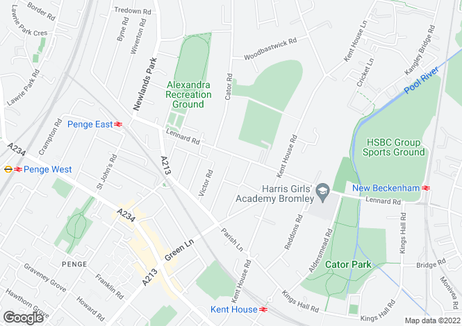 Map for Lennard Road, Penge, SE20