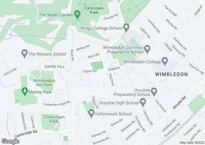 Map for Copse Hill, Wimbledon, London, SW20
