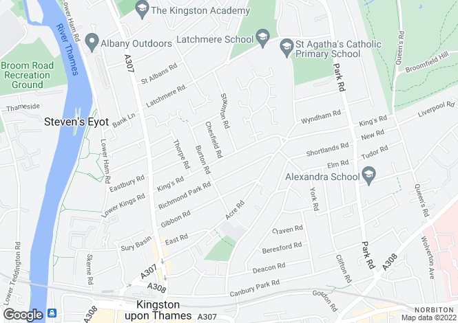Map for Kings Road, Kingston