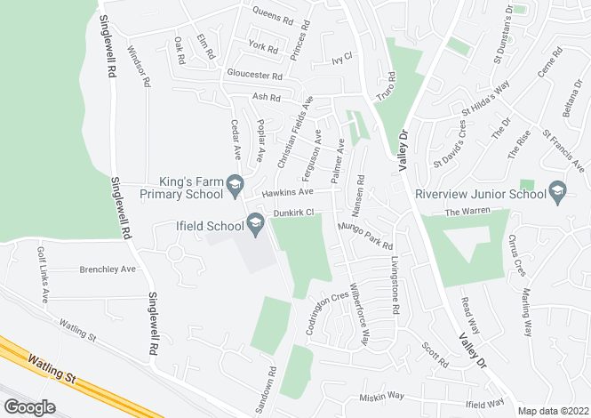 Map for Dunkirk Close, Gravesend, Kent