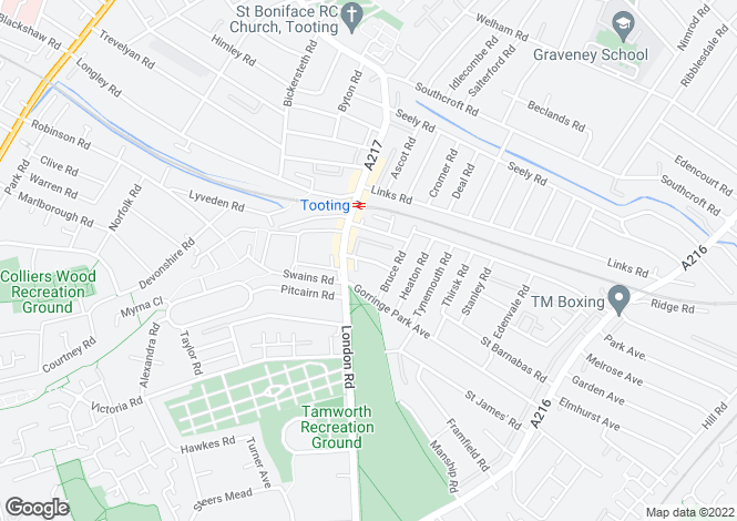 Map for Inglemere Road, Mitcham