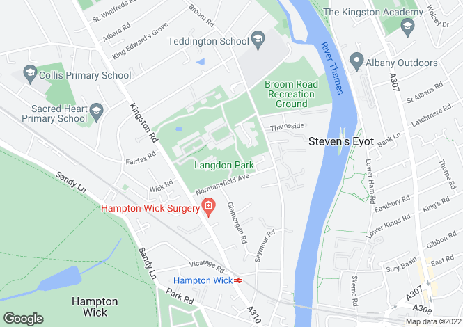 Map for Normansfield Avenue, Teddington, TW11