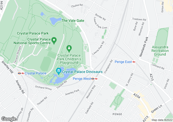 Map for Crystal Palace Park Road, Sydenham, SE26