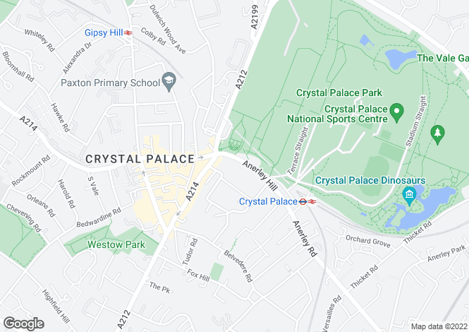 Map for Anerley Hill,  Crystal Palace